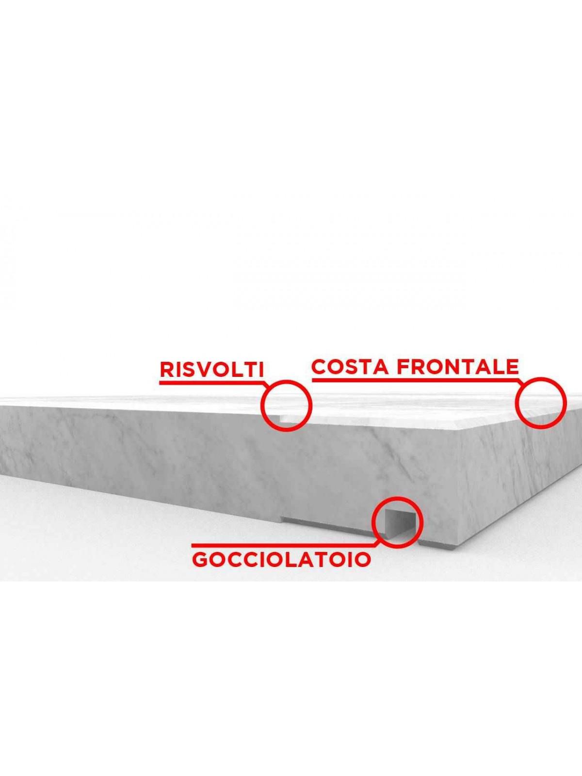 Davanzale in Bianco di Carrara su misura